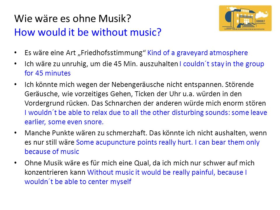 Wie wäre es ohne Musik How would it be without music