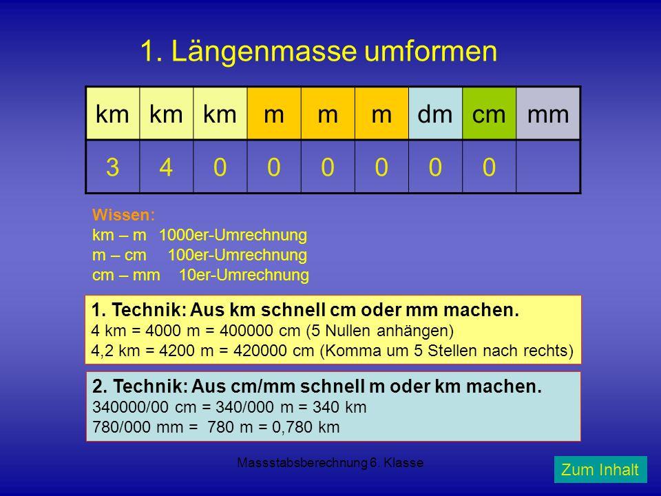 Massstabsberechnung 6. Klasse