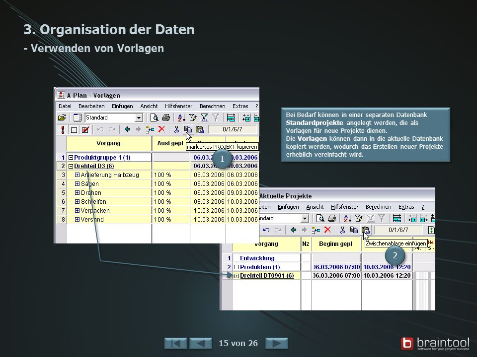 3. Organisation der Daten - Verwenden von Vorlagen