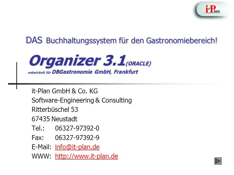 Organizer 3.1(ORACLE) entwickelt für DBGastronomie GmbH, Frankfurt