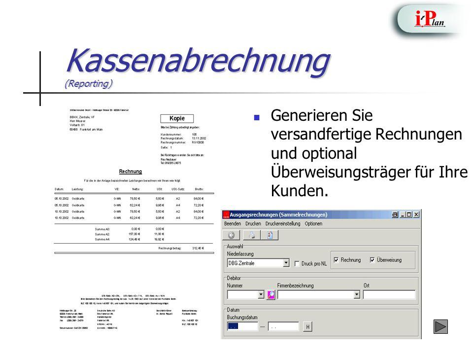 Kassenabrechnung (Reporting)