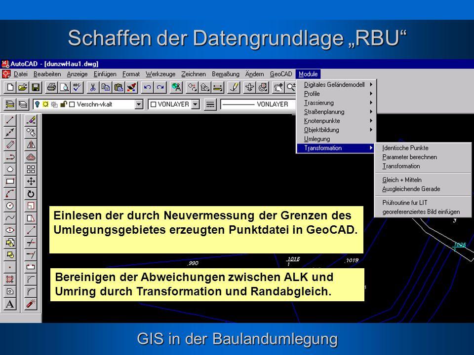 """Schaffen der Datengrundlage """"RBU"""
