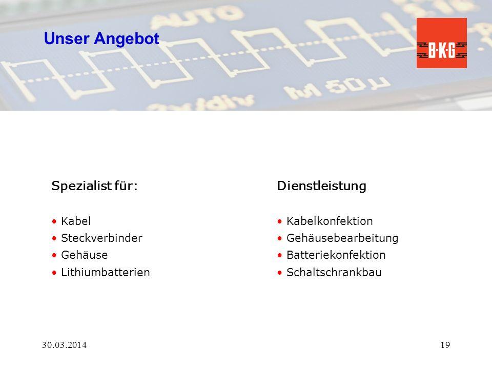 Unser Angebot Spezialist für: Dienstleistung Kabel Steckverbinder