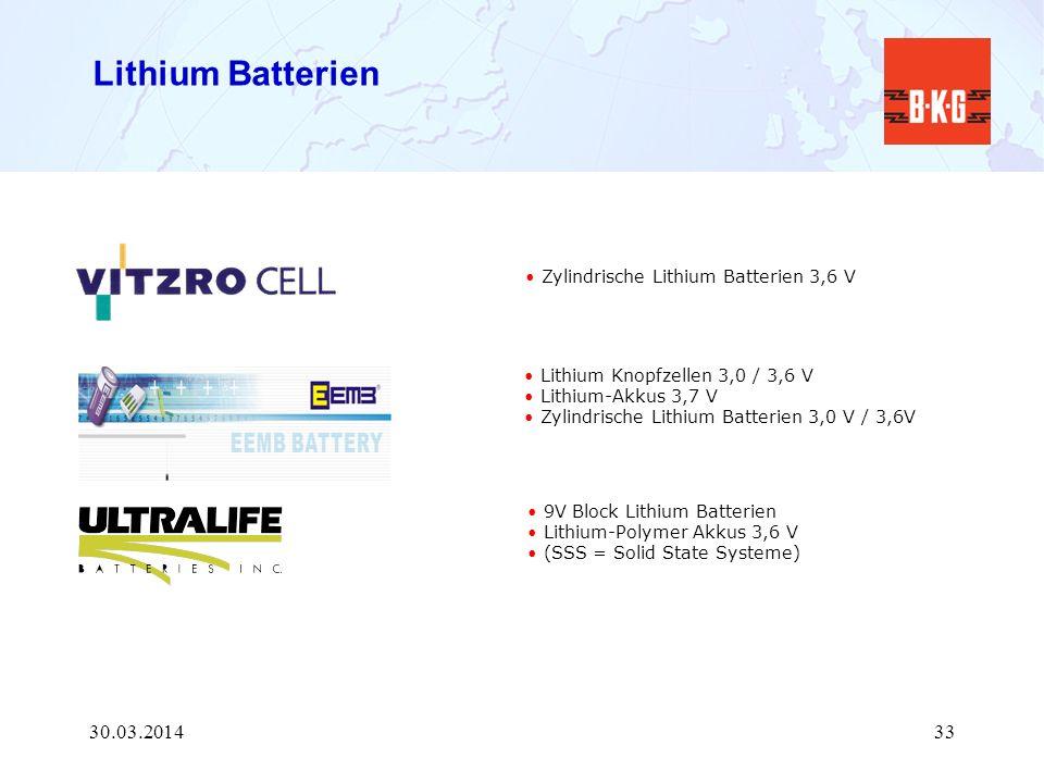 Lithium Batterien 28.03.2017 Zylindrische Lithium Batterien 3,6 V