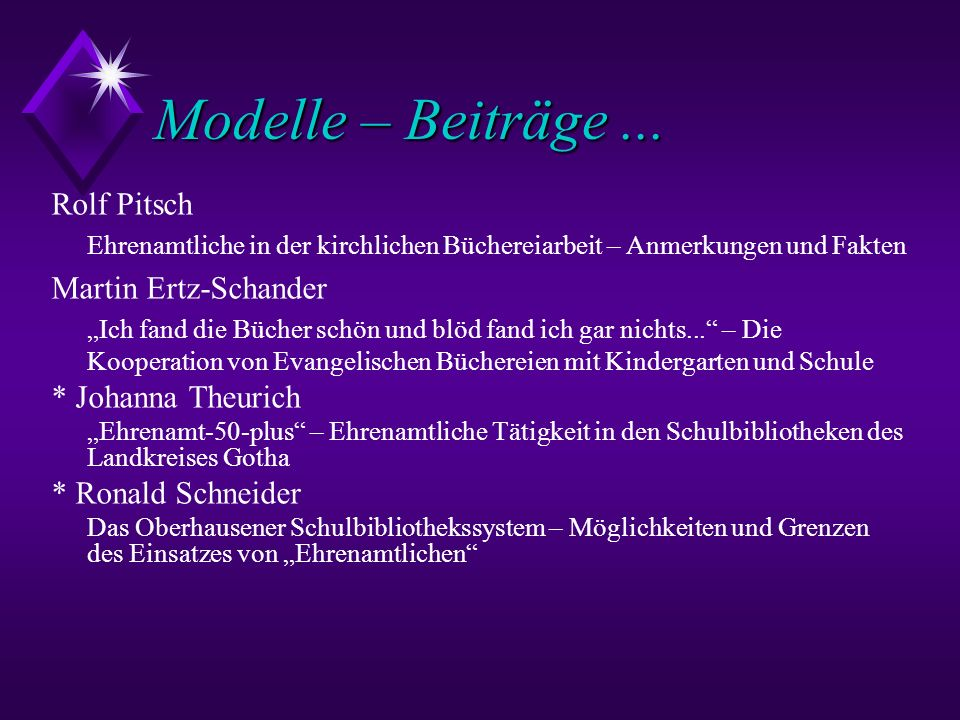 Modelle – Beiträge ... Rolf Pitsch Martin Ertz-Schander