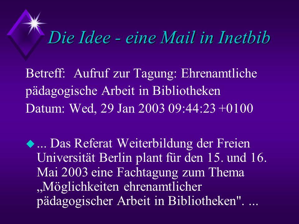 Die Idee - eine Mail in Inetbib