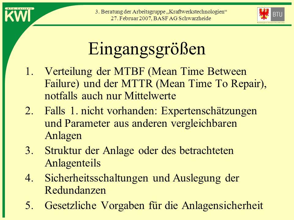 Eingangsgrößen Verteilung der MTBF (Mean Time Between Failure) und der MTTR (Mean Time To Repair), notfalls auch nur Mittelwerte.