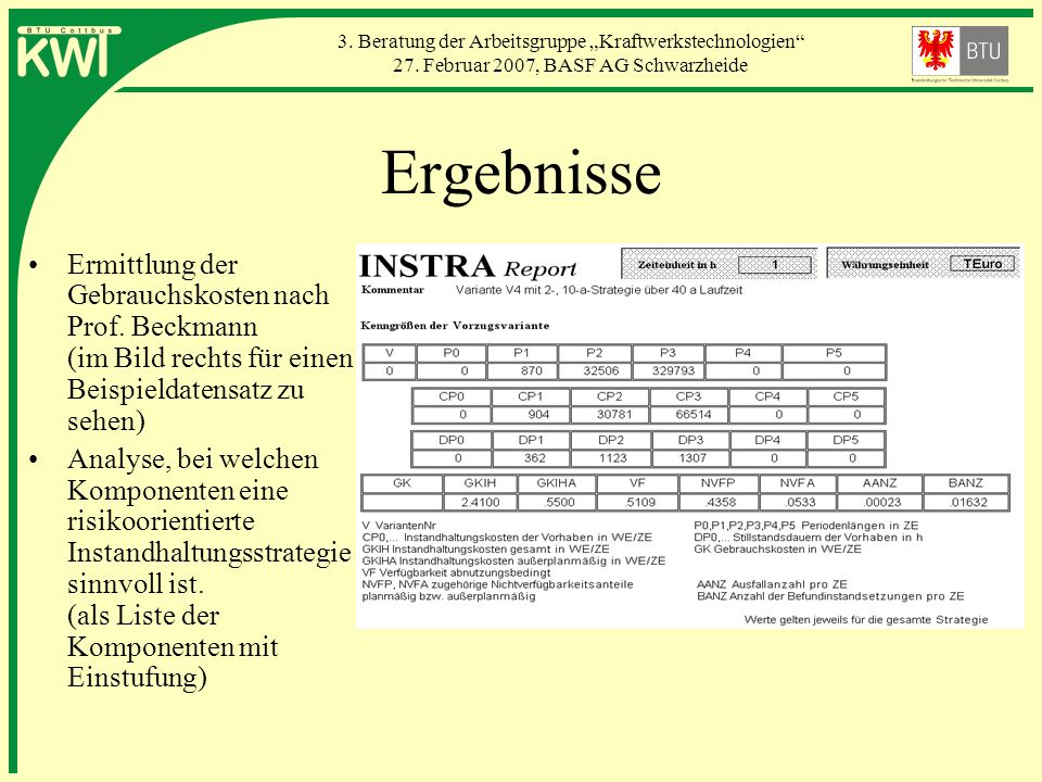Ergebnisse Ermittlung der Gebrauchskosten nach Prof. Beckmann (im Bild rechts für einen Beispieldatensatz zu sehen)