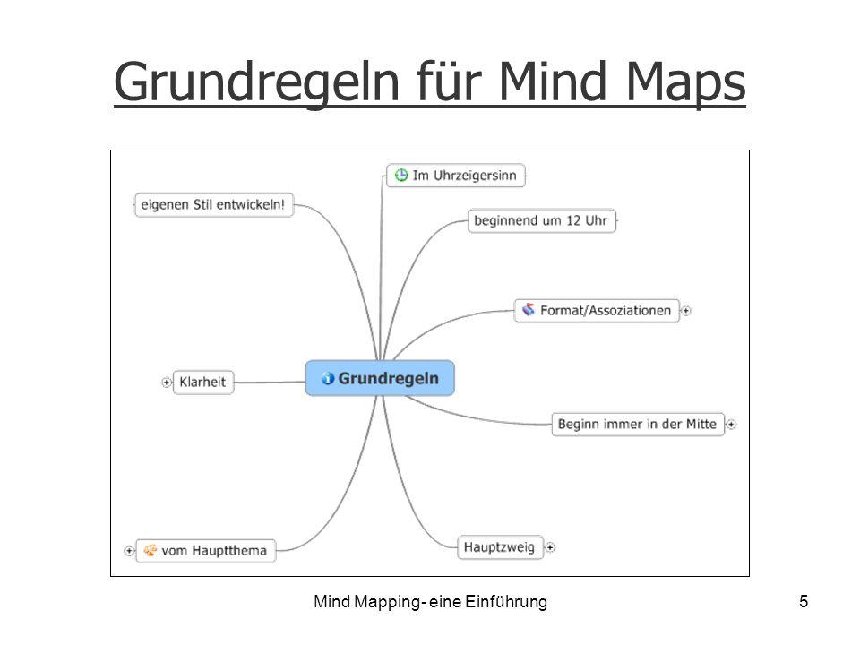 Grundregeln für Mind Maps