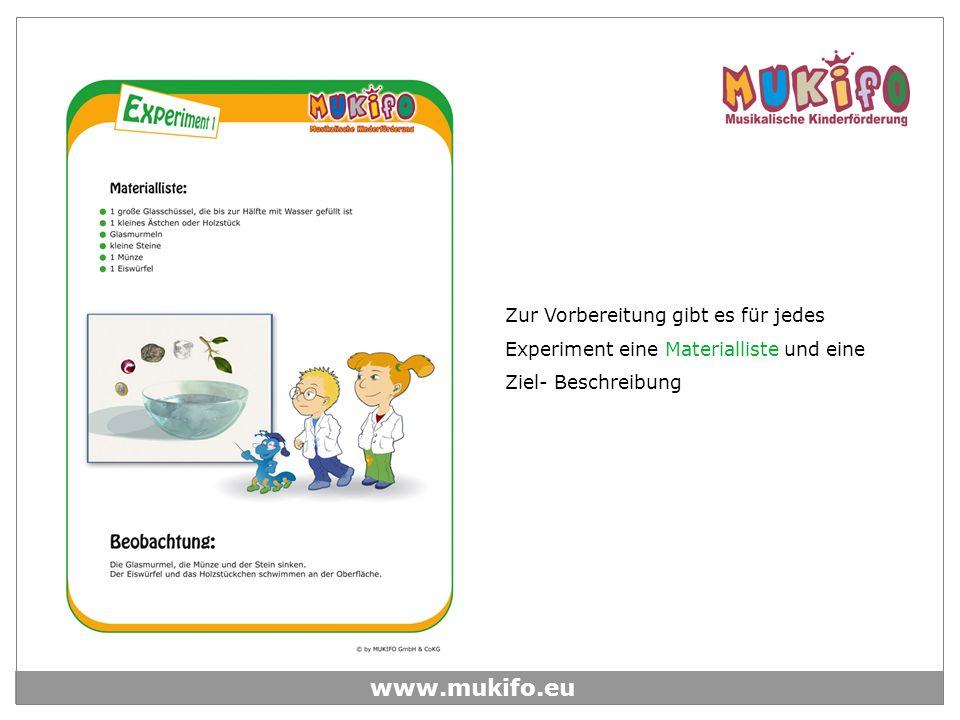 Zur Vorbereitung gibt es für jedes Experiment eine Materialliste und eine Ziel- Beschreibung