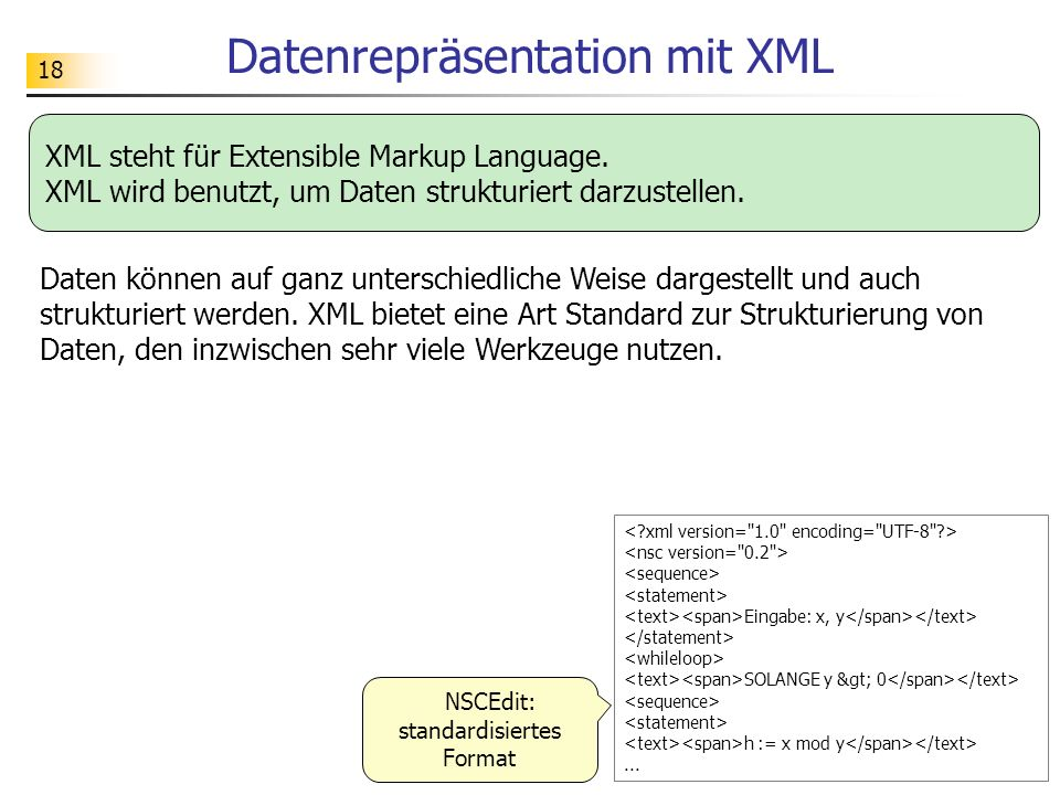 Datenrepräsentation mit XML