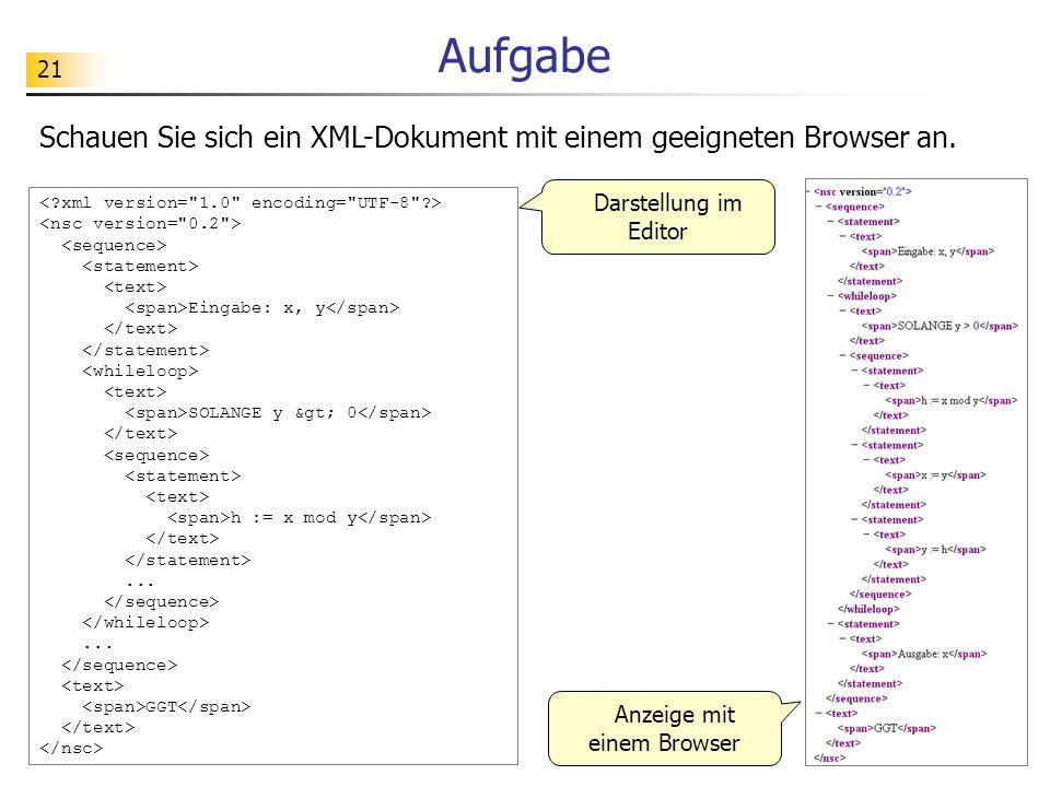 Anzeige mit einem Browser