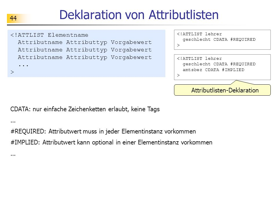Deklaration von Attributlisten
