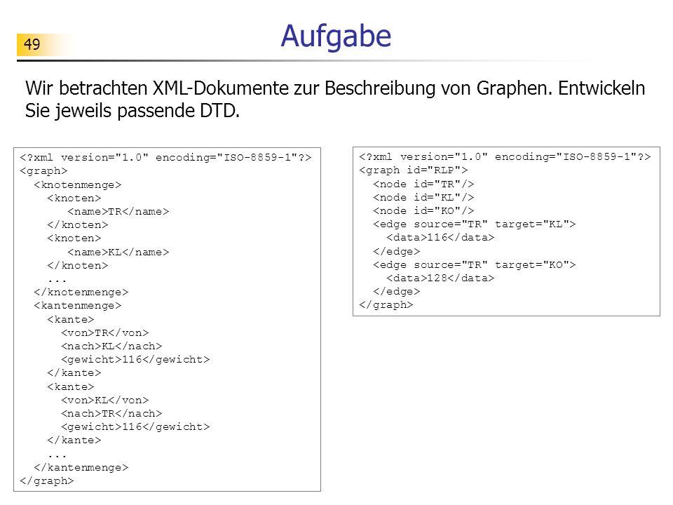 Aufgabe Wir betrachten XML-Dokumente zur Beschreibung von Graphen. Entwickeln Sie jeweils passende DTD.