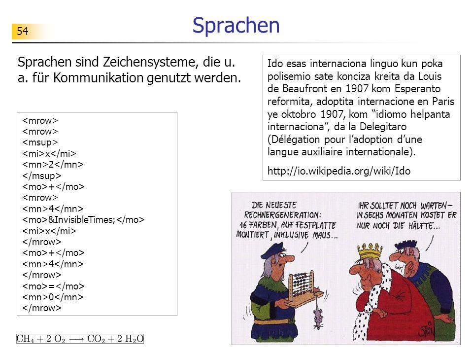 Sprachen Sprachen sind Zeichensysteme, die u. a. für Kommunikation genutzt werden.