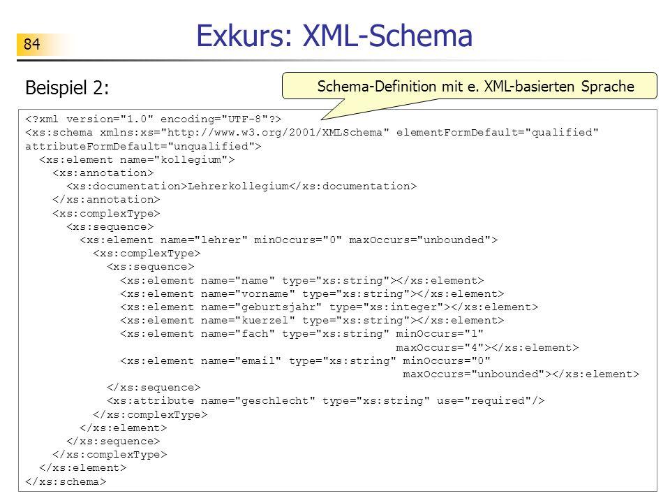 Schema-Definition mit e. XML-basierten Sprache