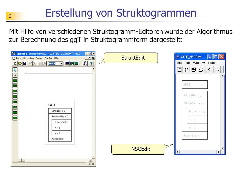 Erstellung von Struktogrammen