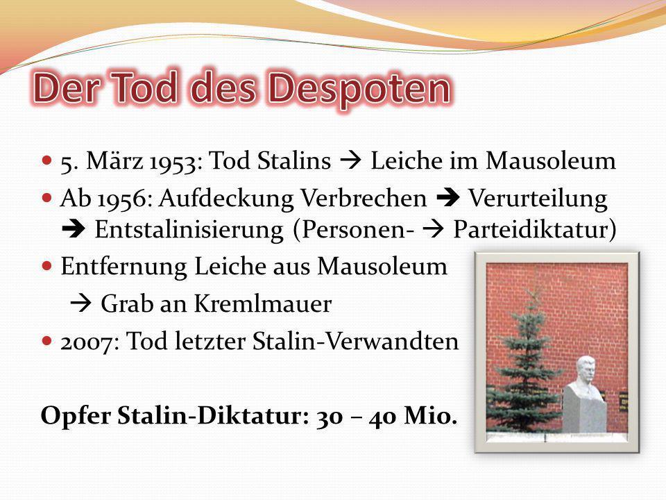 Der Tod des Despoten 5. März 1953: Tod Stalins  Leiche im Mausoleum