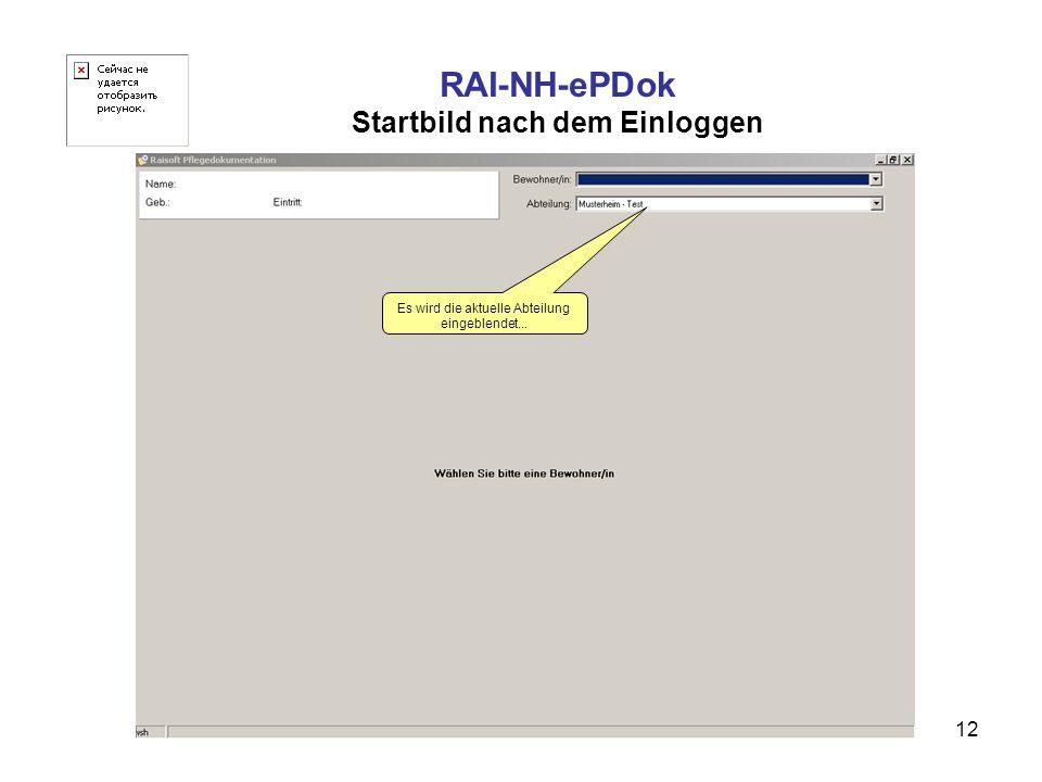 RAI-NH-ePDok Startbild nach dem Einloggen