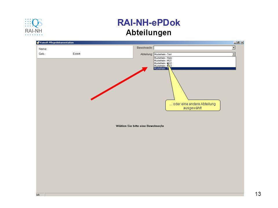 RAI-NH-ePDok Abteilungen