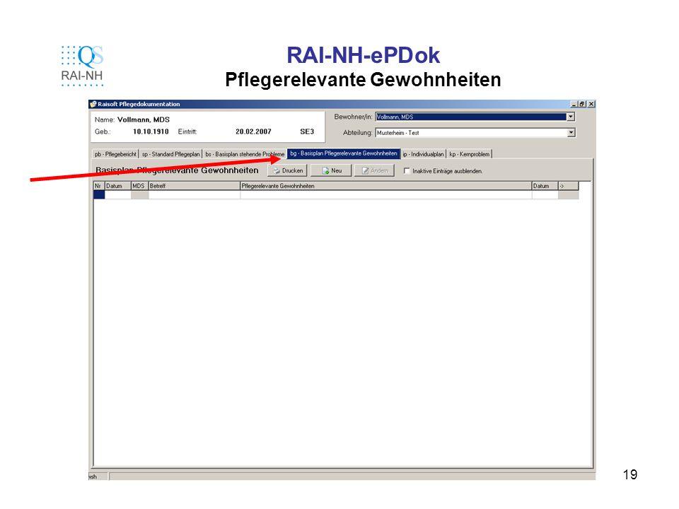 RAI-NH-ePDok Pflegerelevante Gewohnheiten