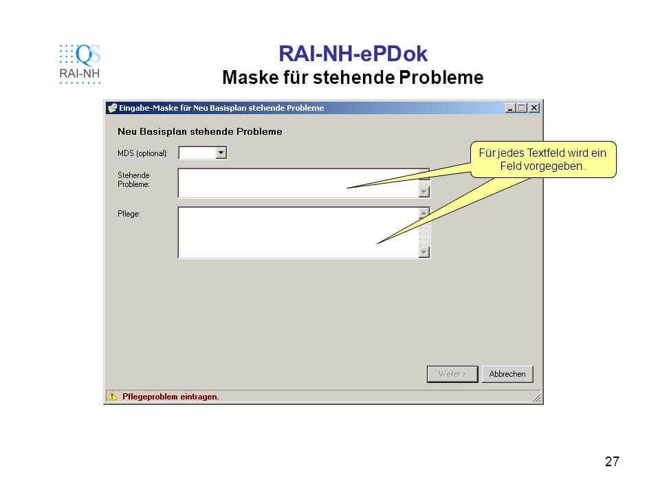 RAI-NH-ePDok Maske für stehende Probleme