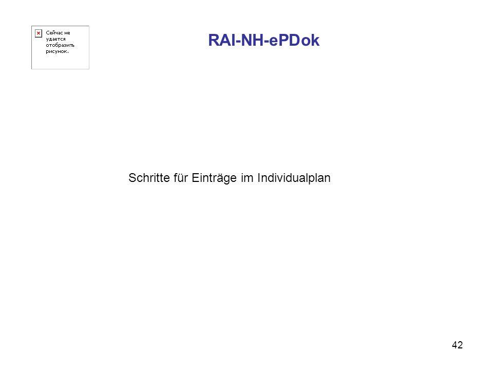 RAI-NH-ePDok Schritte für Einträge im Individualplan
