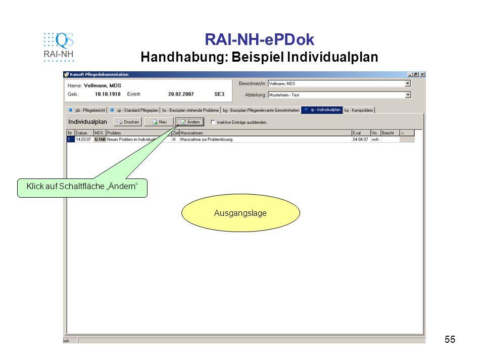 RAI-NH-ePDok Handhabung: Beispiel Individualplan