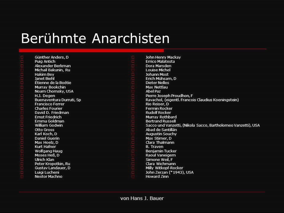 Berühmte Anarchisten von Hans J. Bauer Günther Anders, D Puig Antich
