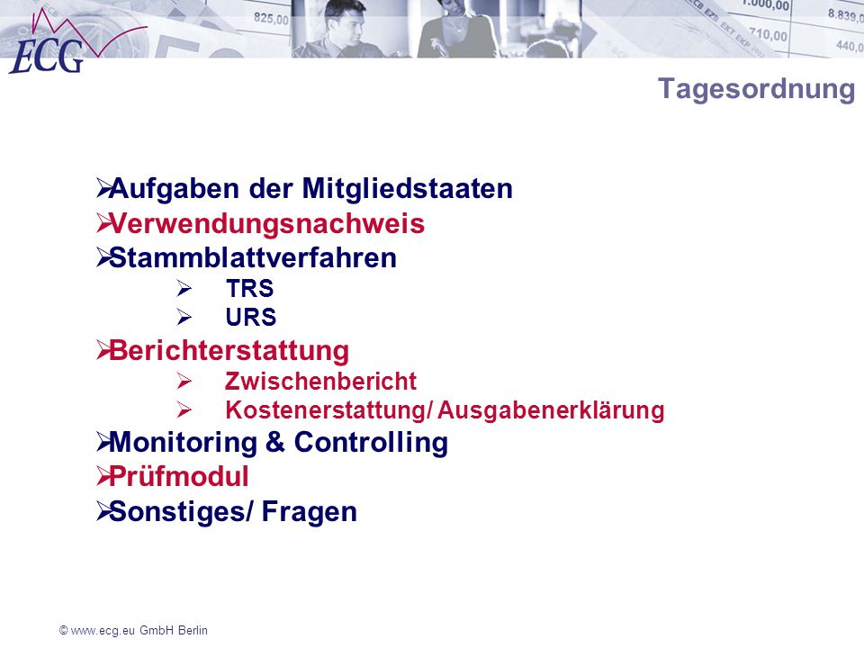 Aufgaben der Mitgliedstaaten Verwendungsnachweis Stammblattverfahren