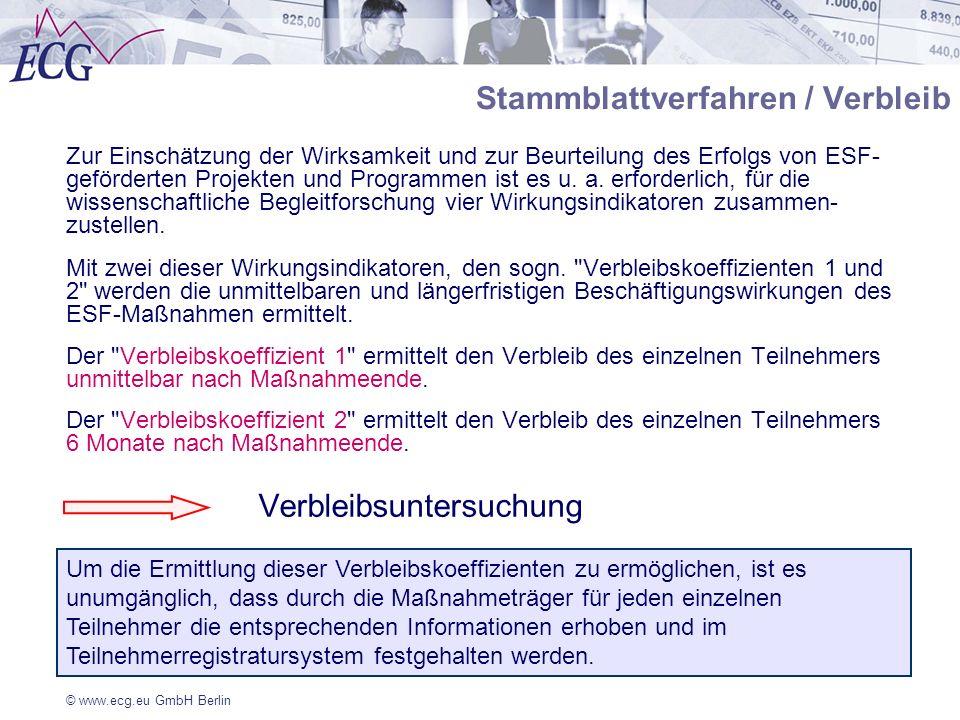 Stammblattverfahren / Verbleib