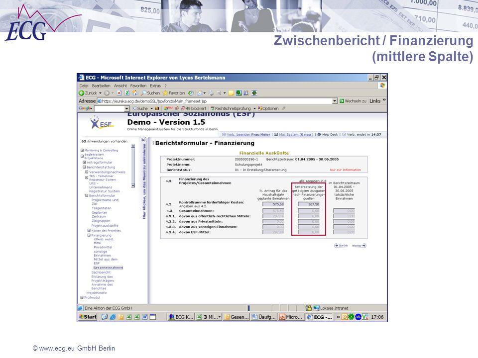 Zwischenbericht / Finanzierung (mittlere Spalte)