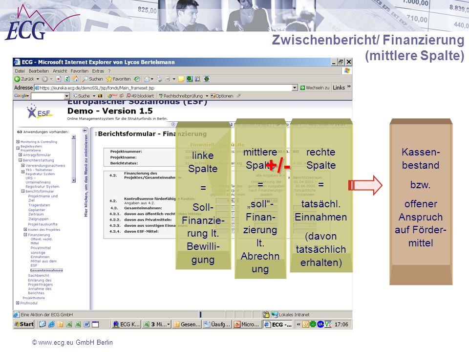Zwischenbericht/ Finanzierung (mittlere Spalte)