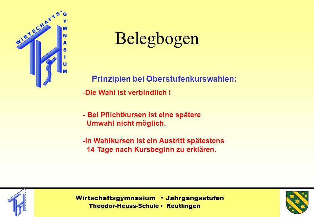 Belegbogen Prinzipien bei Oberstufenkurswahlen: