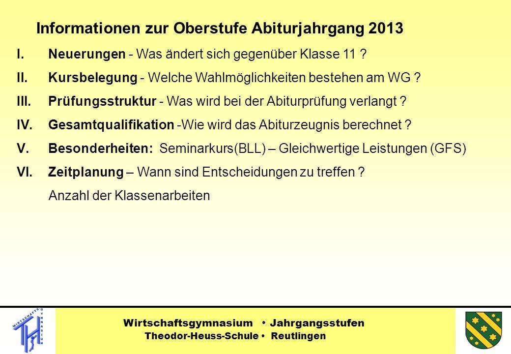 Informationen zur Oberstufe Abiturjahrgang 2013