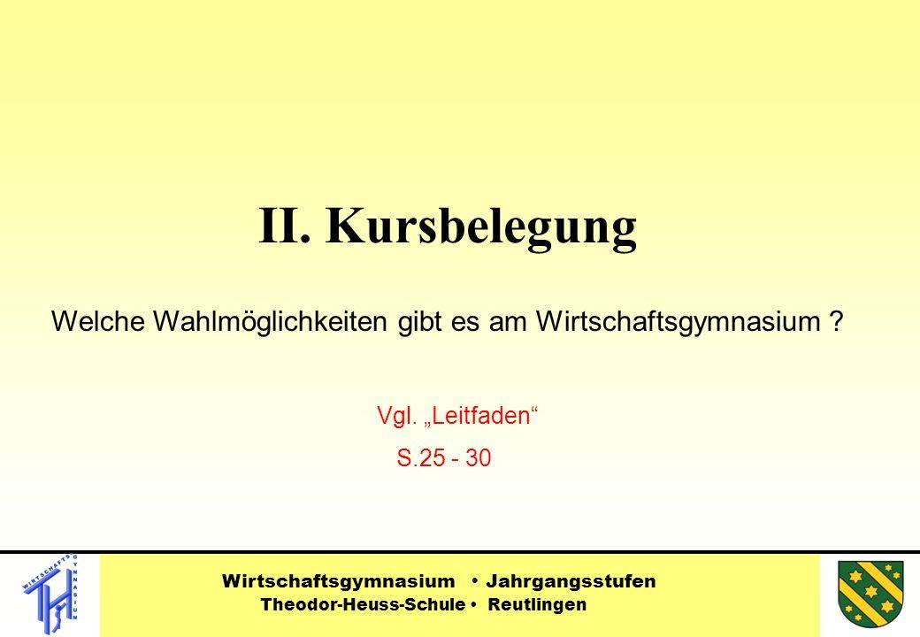 """II. Kursbelegung Welche Wahlmöglichkeiten gibt es am Wirtschaftsgymnasium Vgl. """"Leitfaden S.25 - 30."""