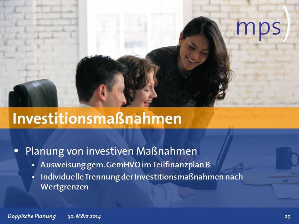 mps) Investitionsmaßnahmen Planung von investiven Maßnahmen