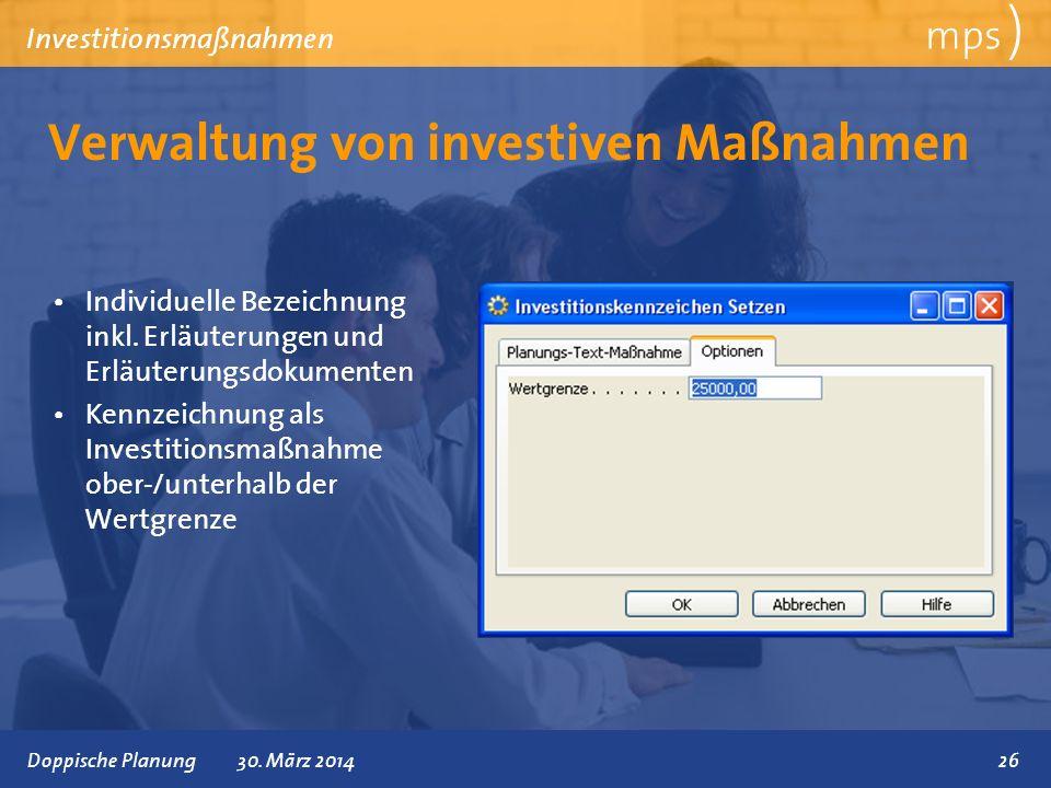 Verwaltung von investiven Maßnahmen