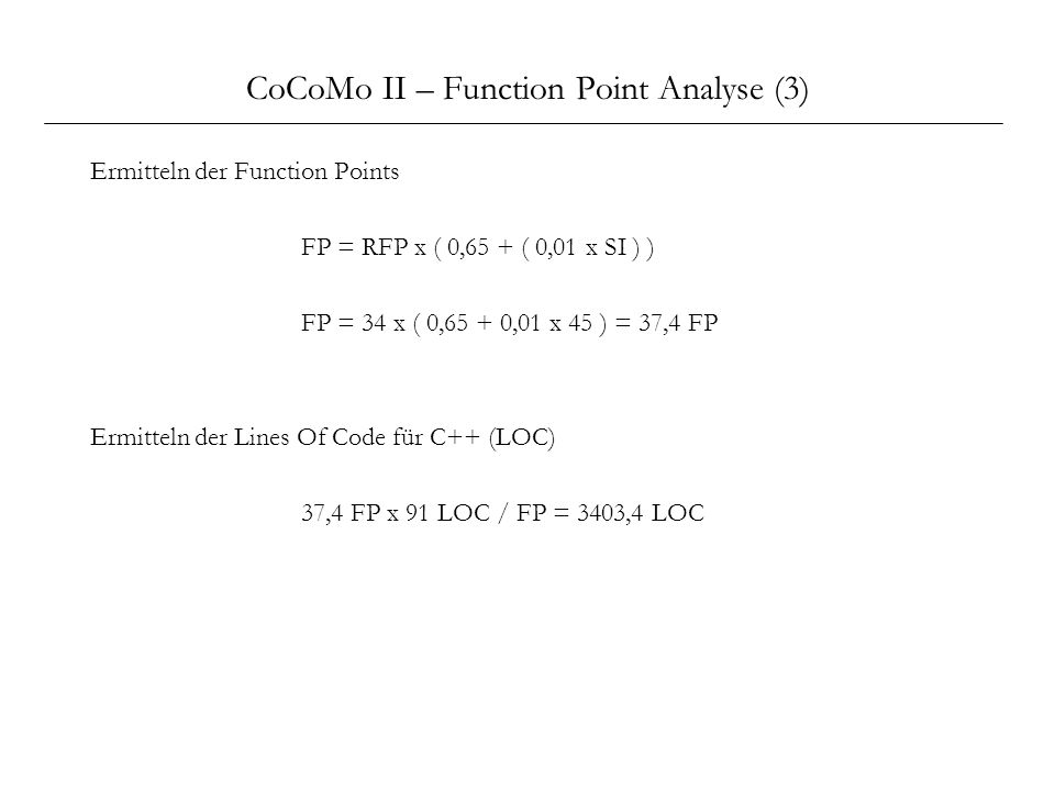 CoCoMo II – Function Point Analyse (3)