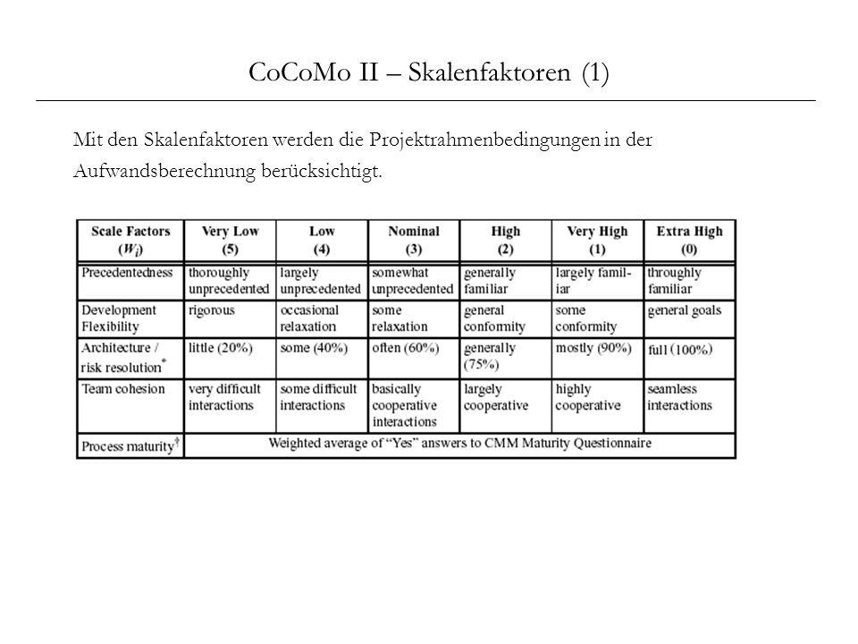 CoCoMo II – Skalenfaktoren (1)