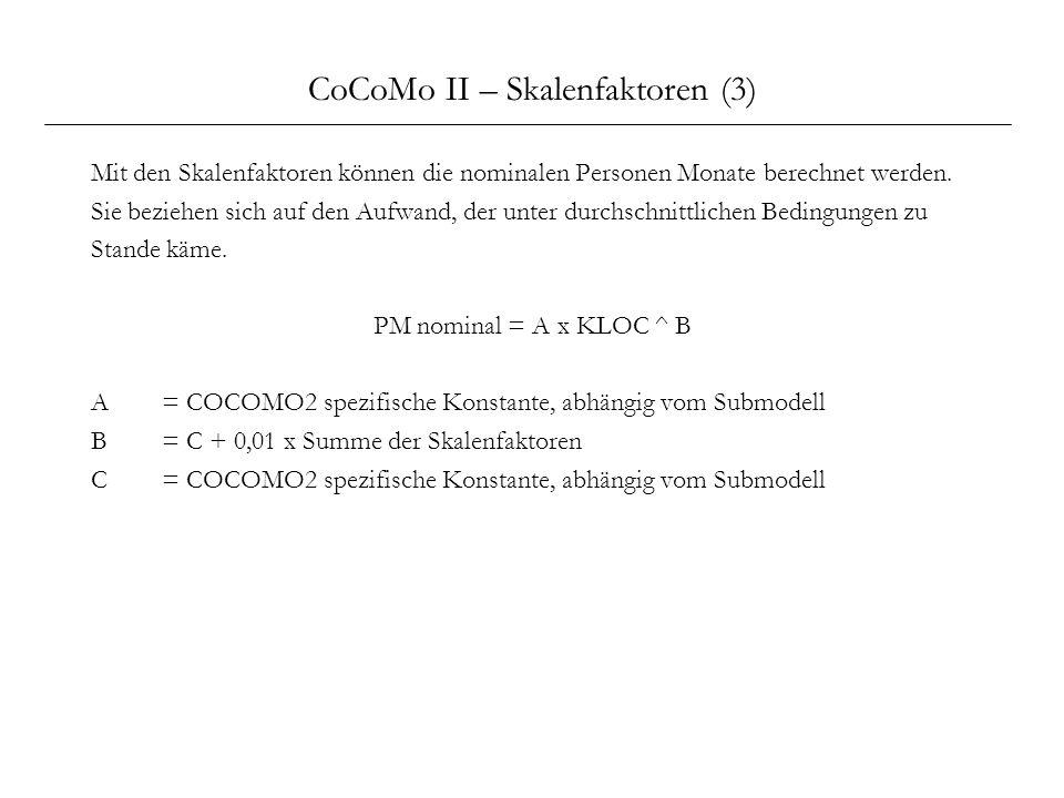 CoCoMo II – Skalenfaktoren (3)