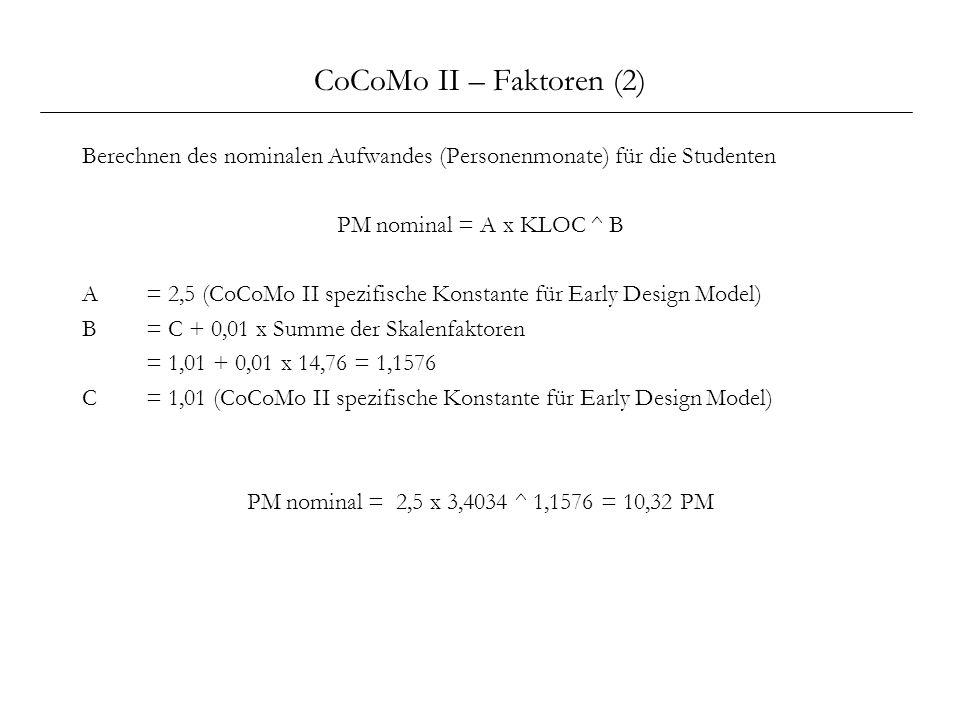 CoCoMo II – Faktoren (2) Berechnen des nominalen Aufwandes (Personenmonate) für die Studenten. PM nominal = A x KLOC ^ B.