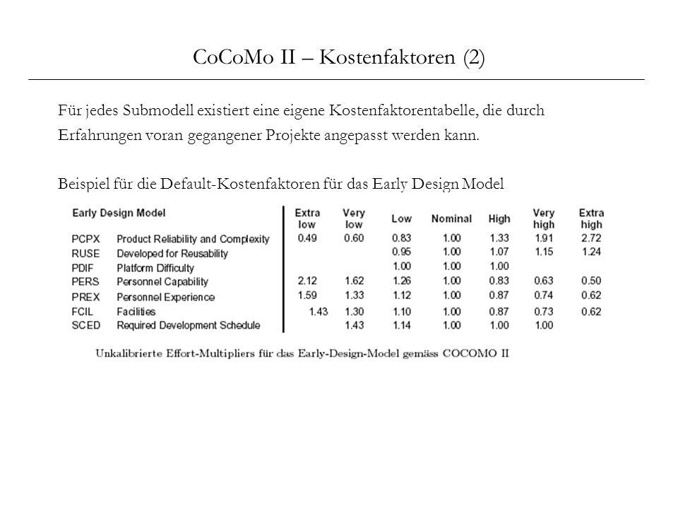 CoCoMo II – Kostenfaktoren (2)