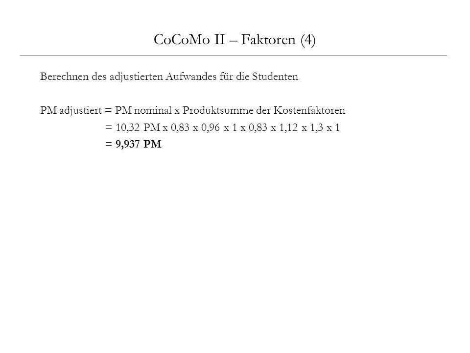 CoCoMo II – Faktoren (4) Berechnen des adjustierten Aufwandes für die Studenten. PM adjustiert = PM nominal x Produktsumme der Kostenfaktoren.
