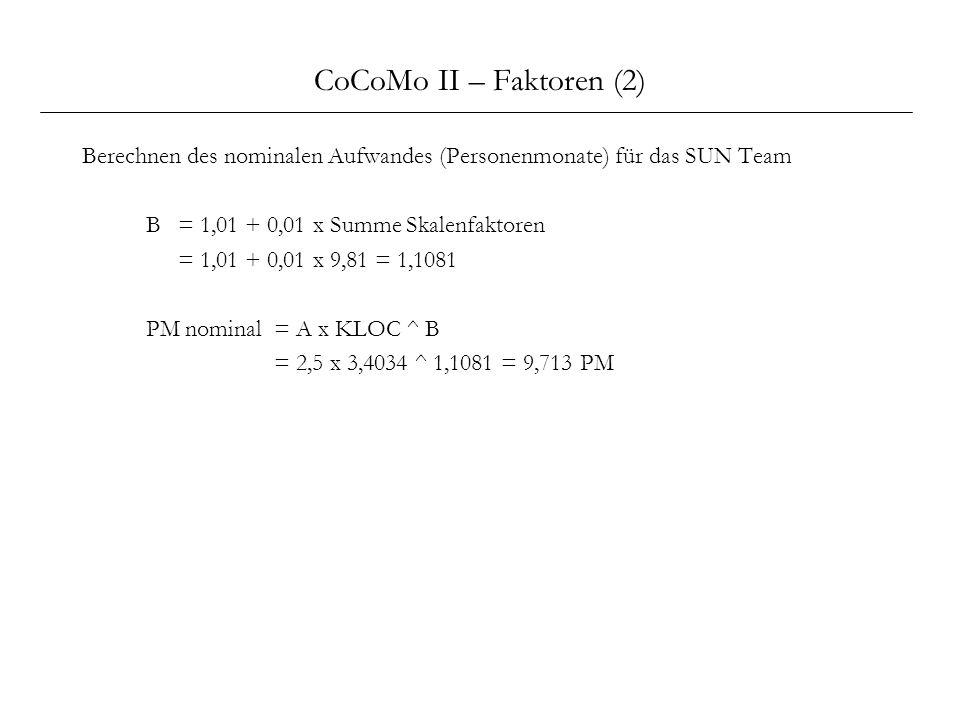 CoCoMo II – Faktoren (2) Berechnen des nominalen Aufwandes (Personenmonate) für das SUN Team. B = 1,01 + 0,01 x Summe Skalenfaktoren.