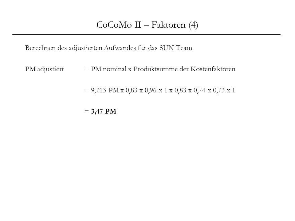 CoCoMo II – Faktoren (4) Berechnen des adjustierten Aufwandes für das SUN Team. PM adjustiert = PM nominal x Produktsumme der Kostenfaktoren.