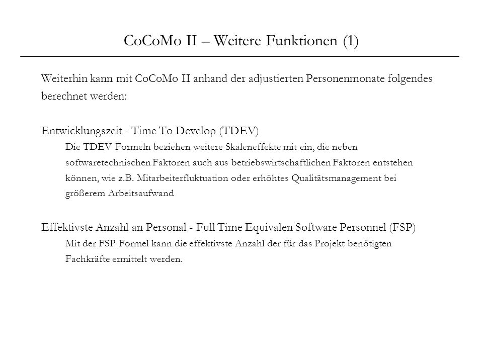 CoCoMo II – Weitere Funktionen (1)