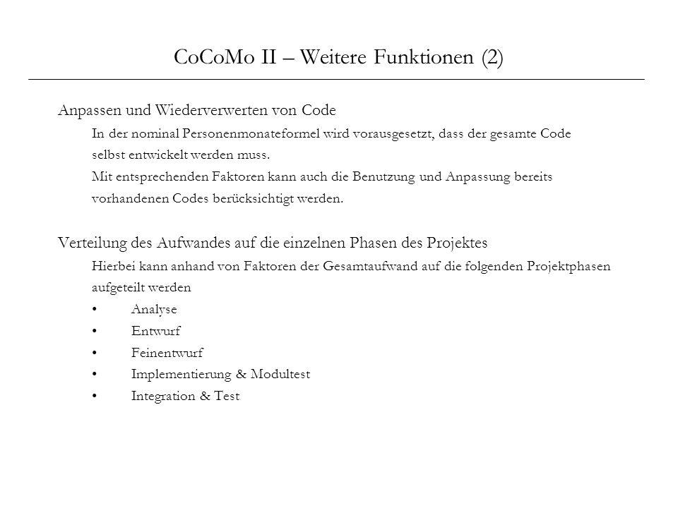 CoCoMo II – Weitere Funktionen (2)