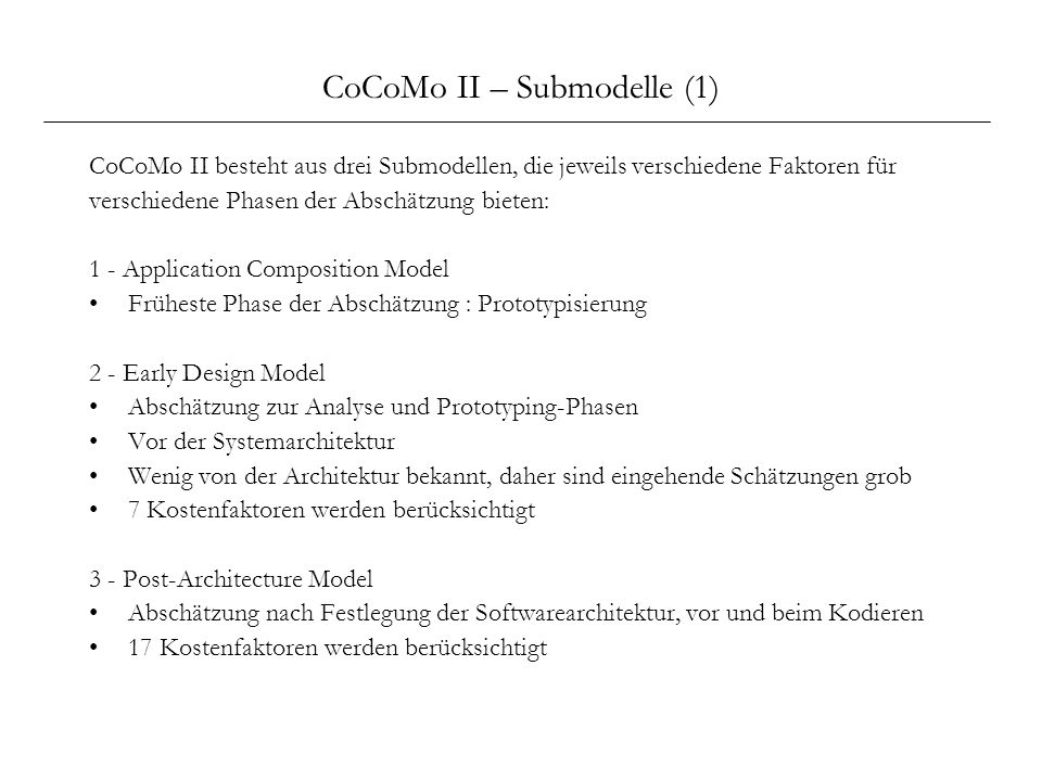 CoCoMo II – Submodelle (1)