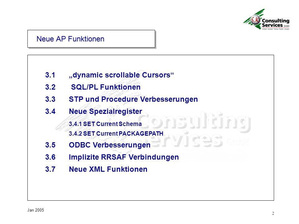 "3.1 ""dynamic scrollable Cursors 3.2 SQL/PL Funktionen"
